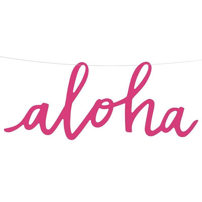 Bannière Aloha fuchsia 19x47cm