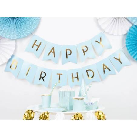Bannière Joyeux anniversaire bleu clair 15 x 175 cm