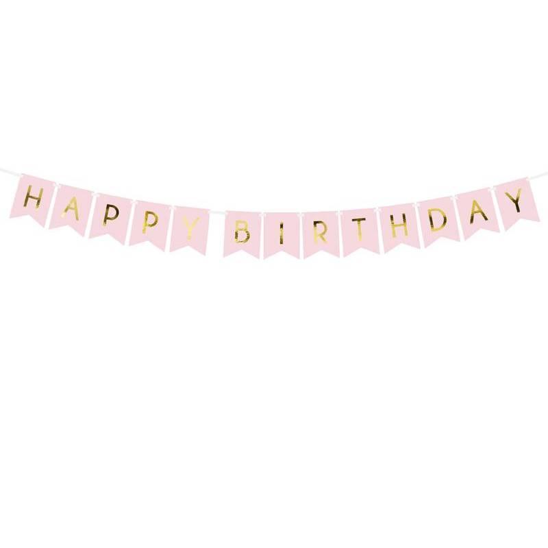 Bannière Joyeux anniversaire rose pâle 15 x 175 cm