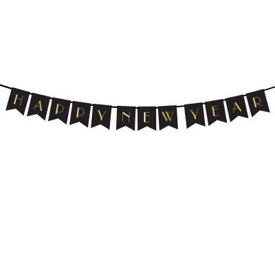 Bannière Happy New Year noir 15 x 170 cm