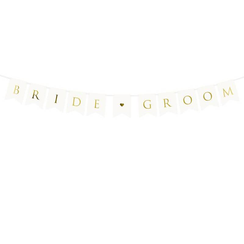 Bannière Bride Groom blanche 15 x 155 cm