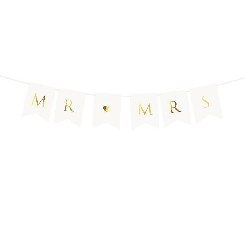 Bannière Mr Mme blanche 15 x 85 cm