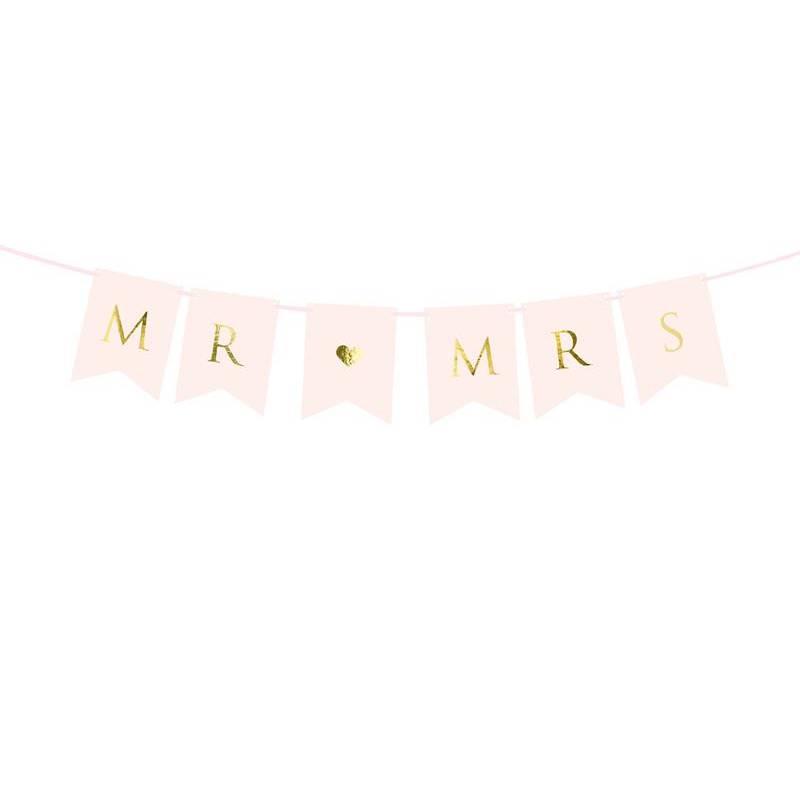 Bannière Mr Mme rose pâle 15 x 85 cm