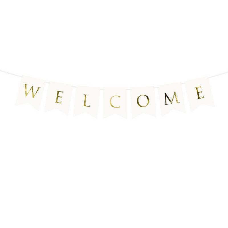 Bannière Bienvenue blanc 15 x 95 cm