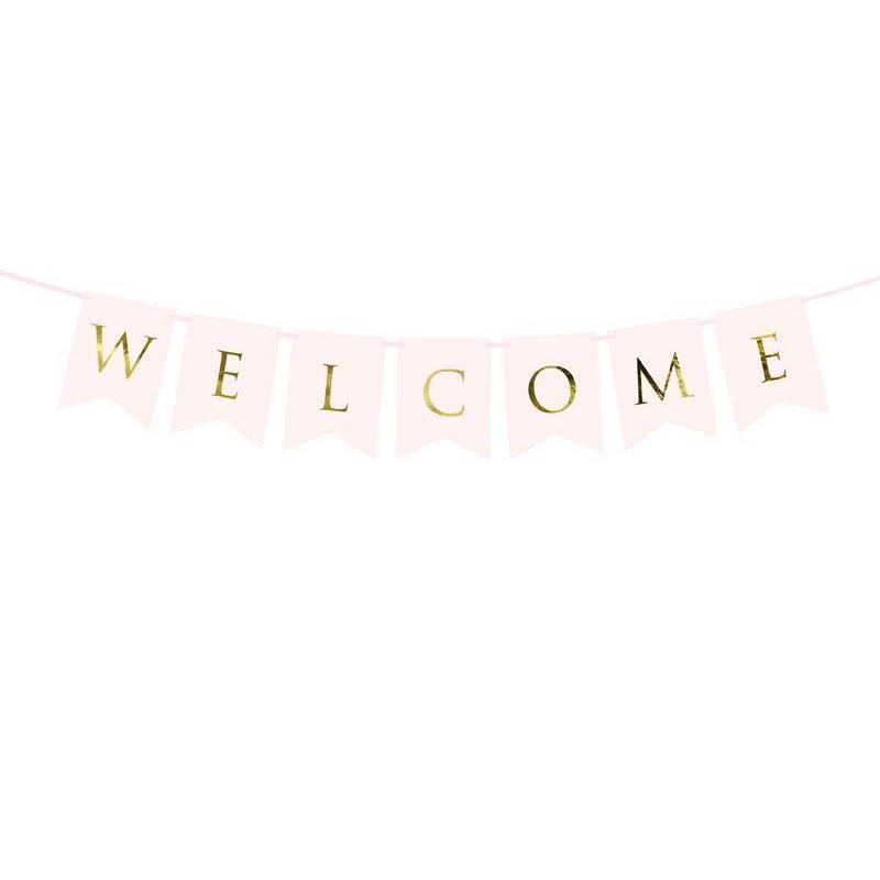 Bannière Bienvenue rose pâle 15 x 95 cm