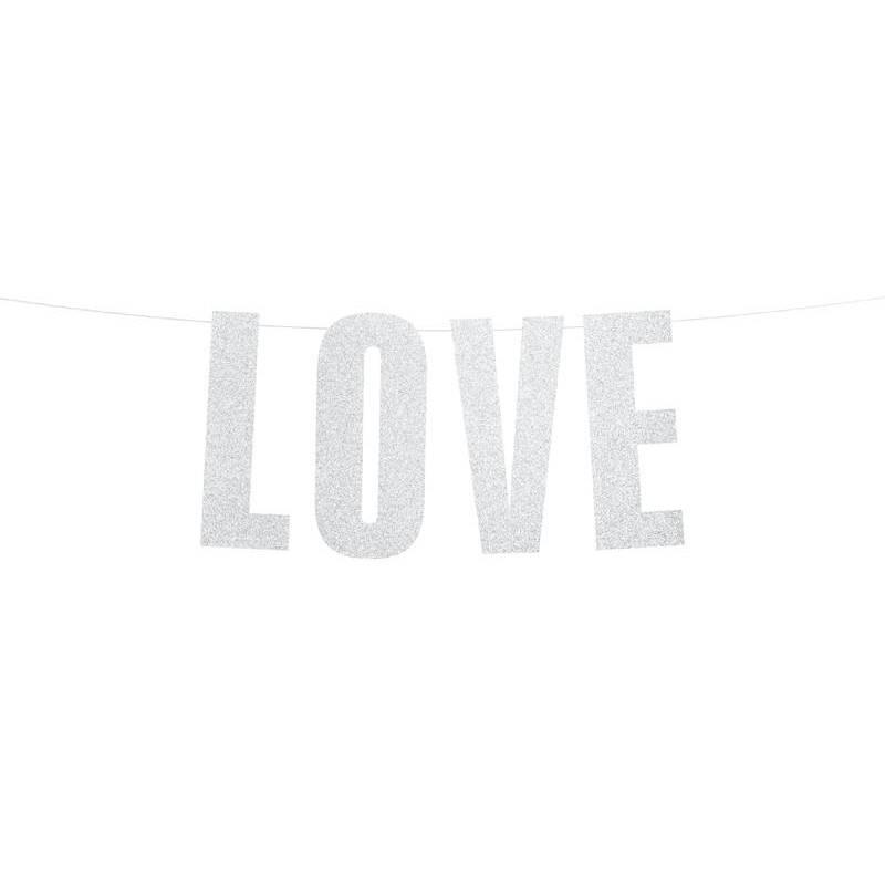 Bannière Love argent 21x55cm