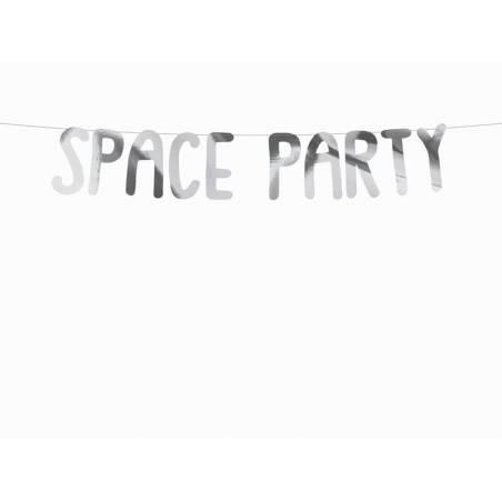 Bannière Space - Space Party argent 13x96cm