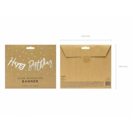 Bannière Joyeux anniversaire argent 16.5x62cm
