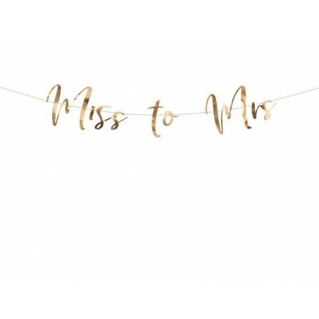 Bannière Miss à Mme or rose 18x76cm