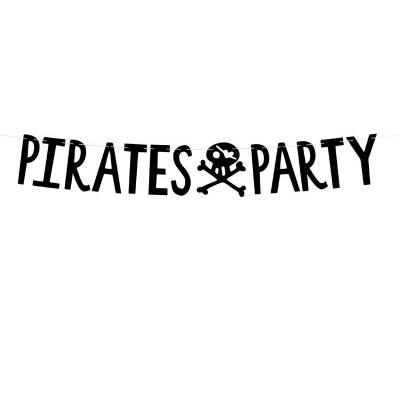 Bannière Pirates Party noir 14x100cm