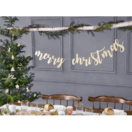 Bannière en bois Joyeux Noël 87x17cm