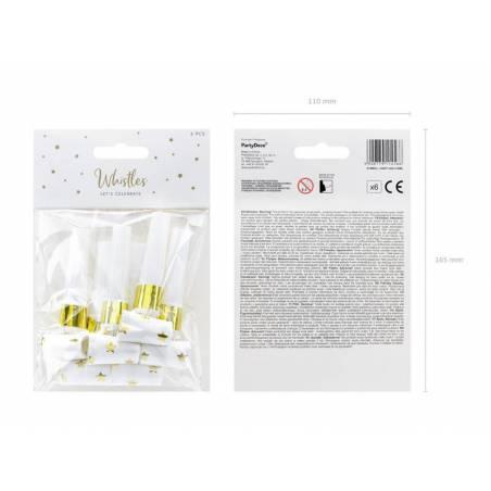 Sifflets en papier Etoiles blanc