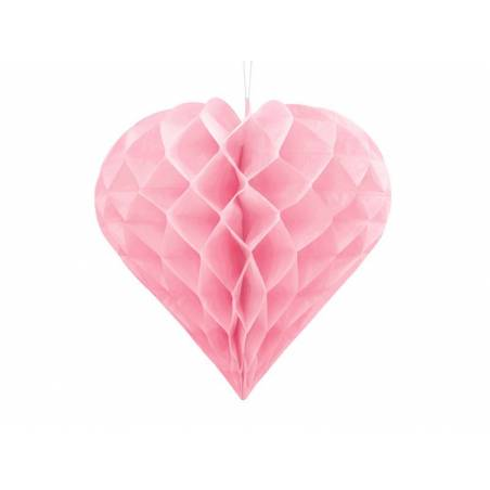 Coeur en nid d'abeille rose clair 20cm