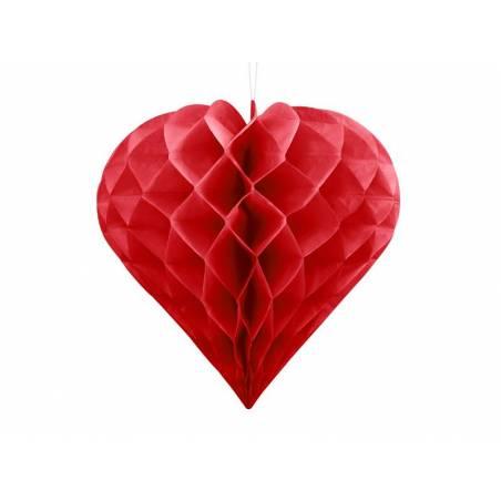Coeur en nid d'abeille rouge 30cm