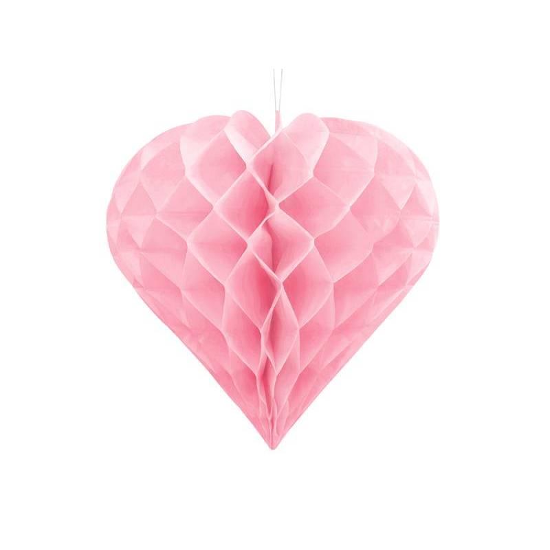 Coeur en nid d'abeille rose clair 30cm