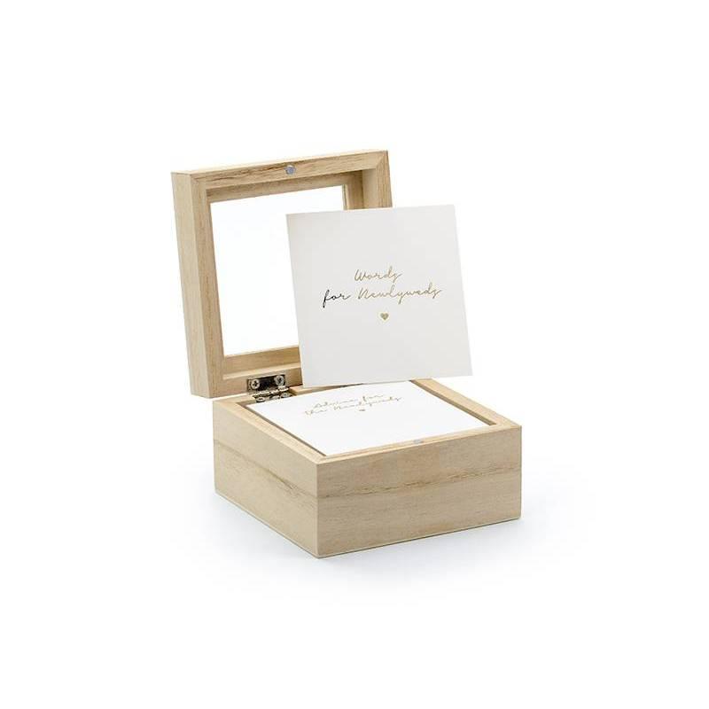 Livre d'or - boîte de conseils de mariage 9.5x9.5x6cm version anglaise