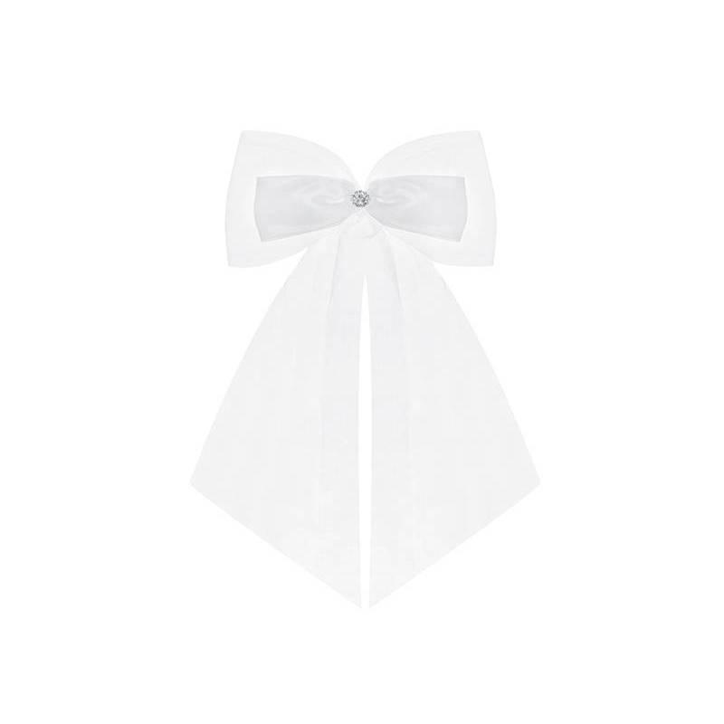 Arcs avec un ruban et une rosette blanc 14cm