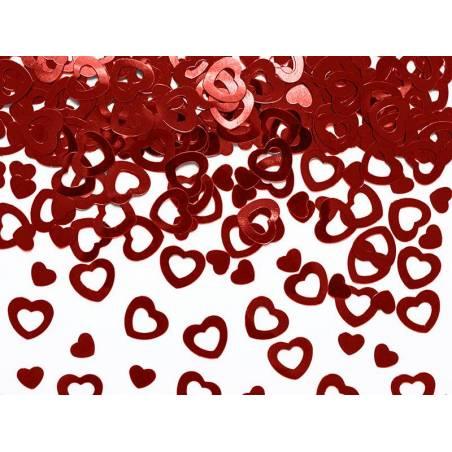 Confettis métalliques Coeurs rouge 15g