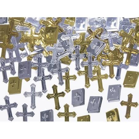 Croix et livres de confettis métalliques 15g