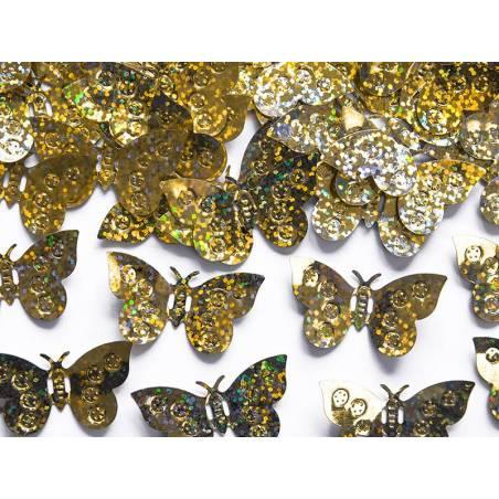 Confettis holographiques Papillons or 15g