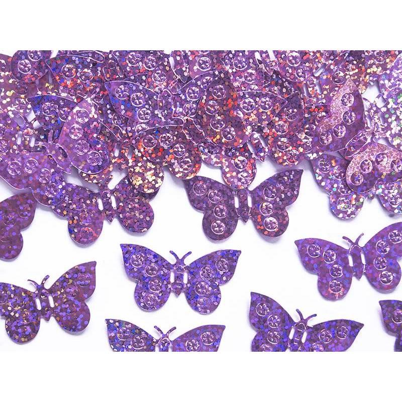 Papillons confettis holographiques rose clair 15g