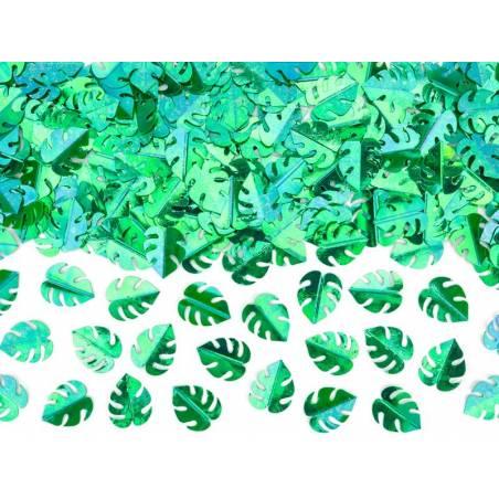 Feuilles de confettis métalliques vertes 15g