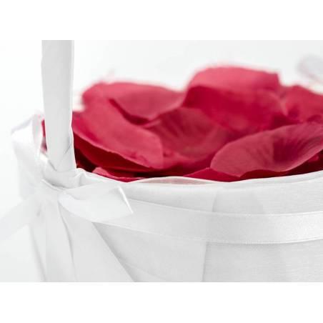 Panier de mariage pour pétales de rose ou pièces de monnaie blanc