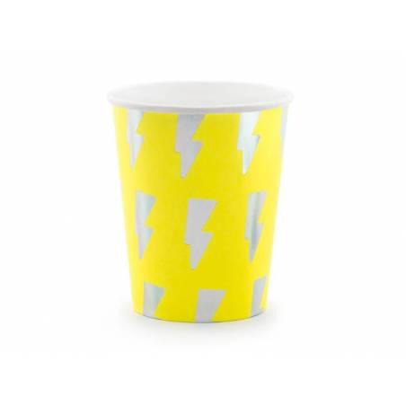 Gobelets en papier Holo électrique jaune néon 260 ml