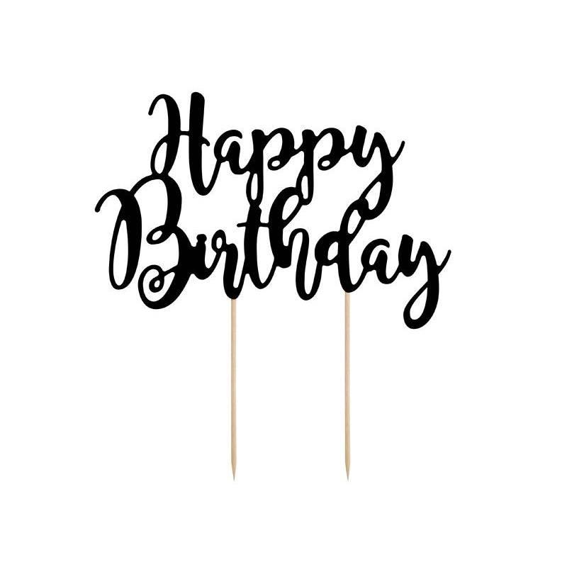 Gâteau Bon anniversaire noir 22.5cm