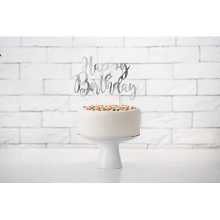Gâteau Bon anniversaire argent 22.5cm
