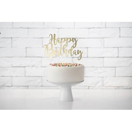 Gâteau Topper Joyeux anniversaire or 22.5cm