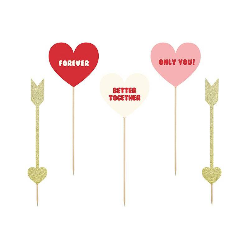 Toppers Sweet Love - Coeurs et flèches