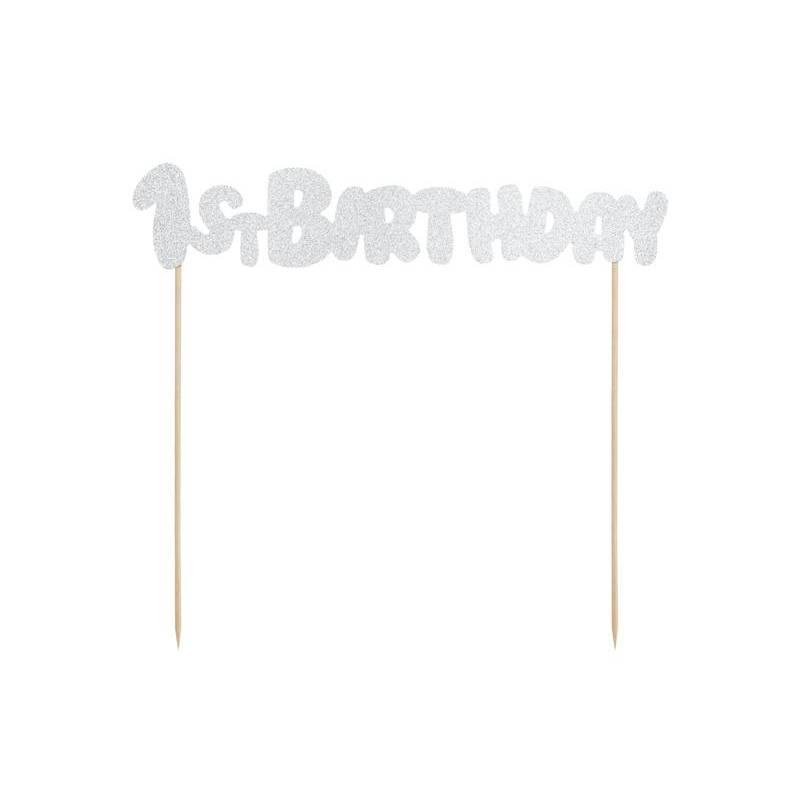 Topper de gâteau 1er anniversaire argent