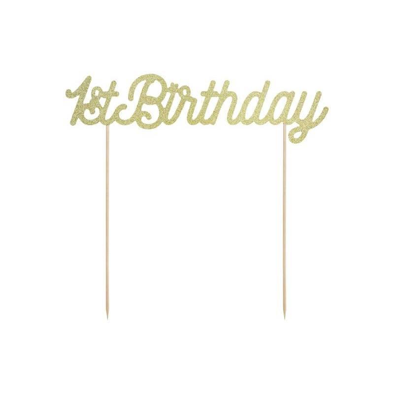 Cake topper 1er anniversaire or