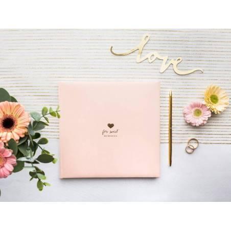 Livre d'or Pour de doux souvenirs 20.5x20.5cm rose poudré 22 pages