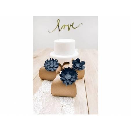Décorations en papier Fleurs bleu marine foncé