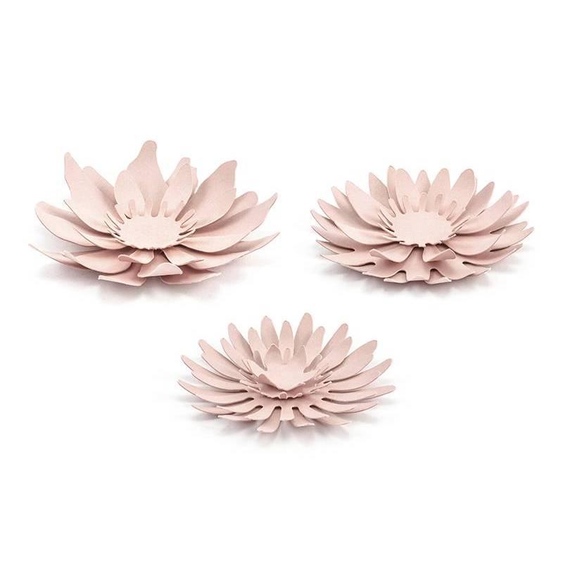 Décorations en papier Fleurs rose poudré