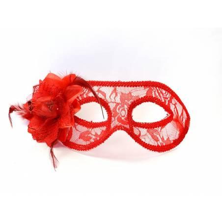 Masque de fête dentelle à la rose rouge