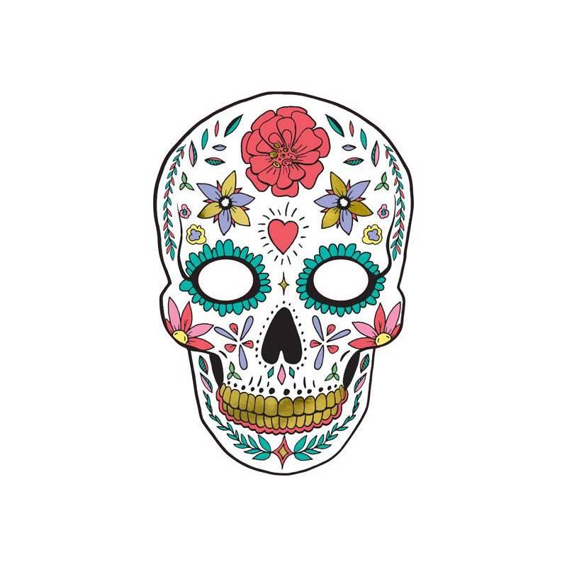 Masque Dia de Los Muertos blanc 19x28cm