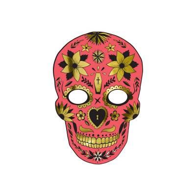 Masque Dia de Los Muertos rouge 19x28cm