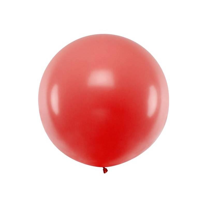 Ballon rond 1m rouge pastel