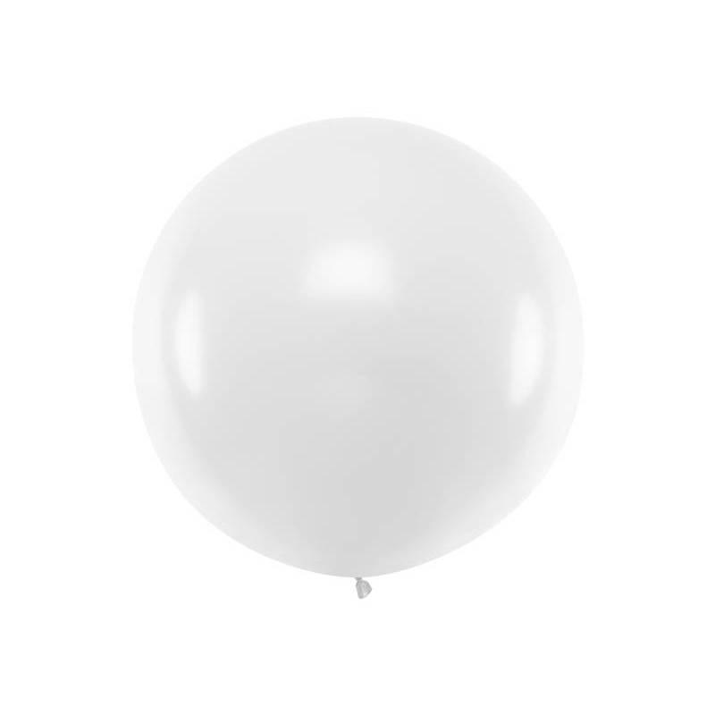 Ballon rond 1m blanc pastel