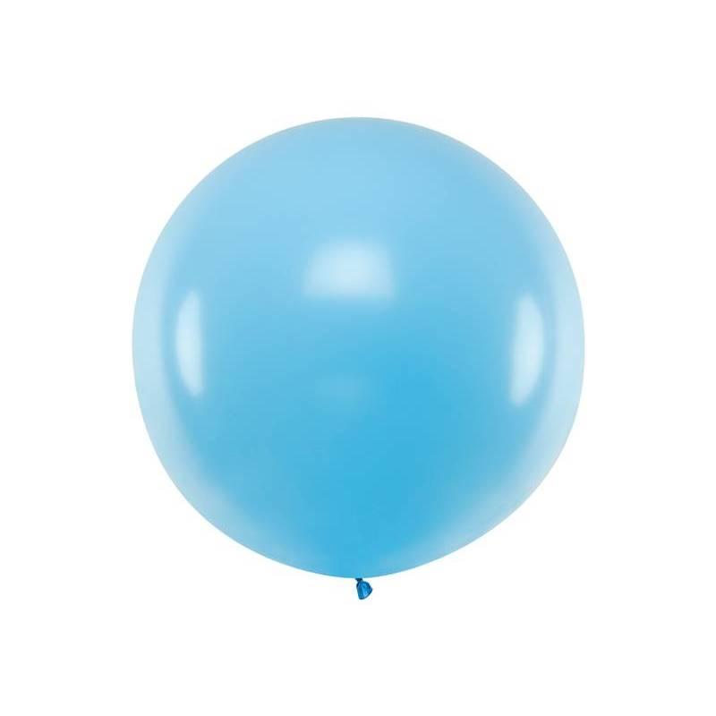 Ballon rond 1m bleu ciel pastel