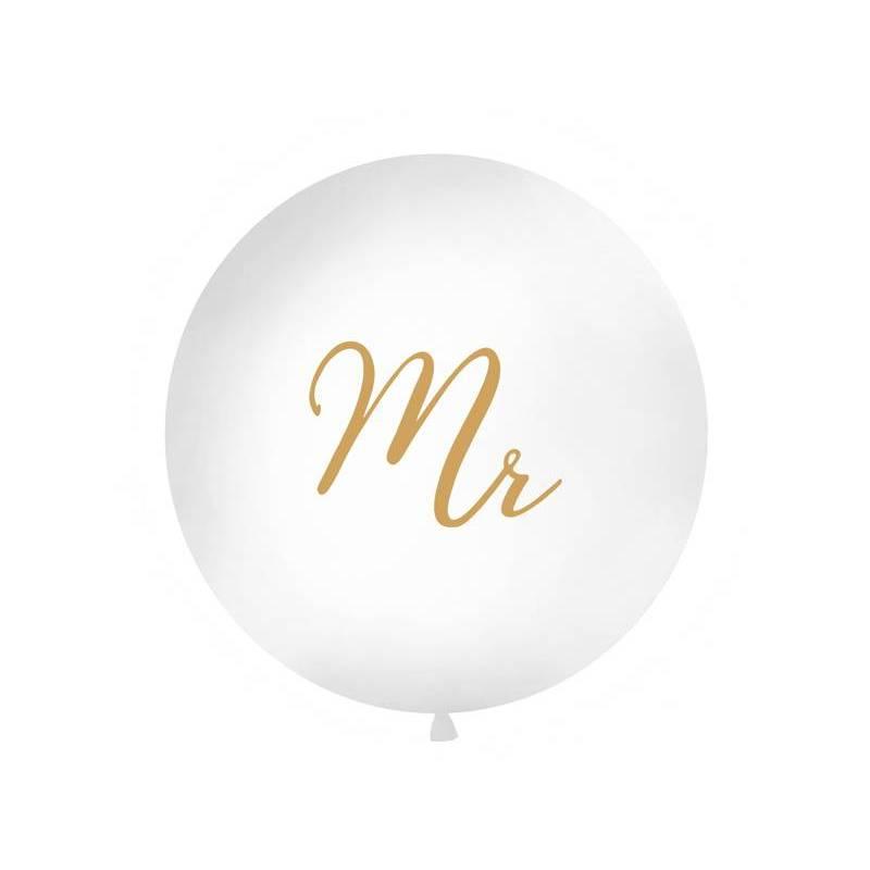 Ballon géant 1 m M. blanc