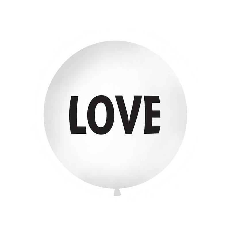 Ballon géant 1 m amour blanc