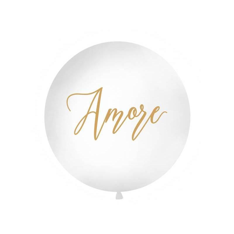 Ballon géant 1 m Amore blanc
