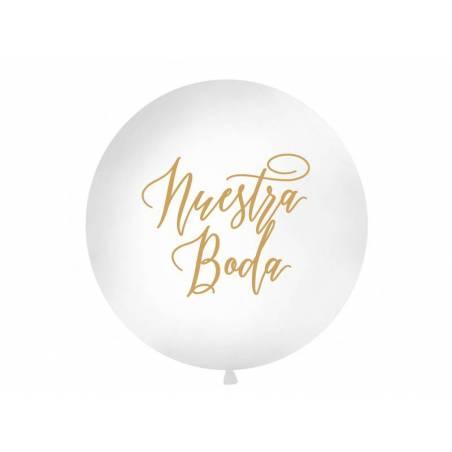 Ballon géant 1 m Nuestra boda blanc
