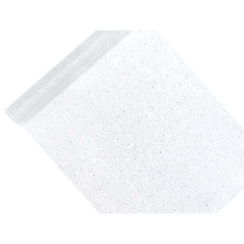 Organza imprimé blanc 0.48 x 9m
