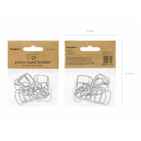 Porte-cartes Coeurs argent 25 cm