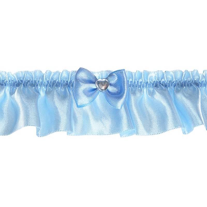 Jarretière en satin avec un ruban bleu ciel